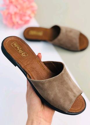 Женские натуральные замшевые сандали босоножки Шлепки