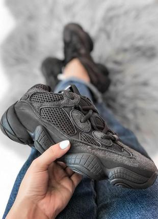 Adidas yeezy 500 шикарные замшевые кроссовки адидас в черном ц...
