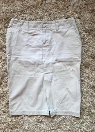 Бежевая юбка карандаш разрез спереди old navy сша, размер с-м