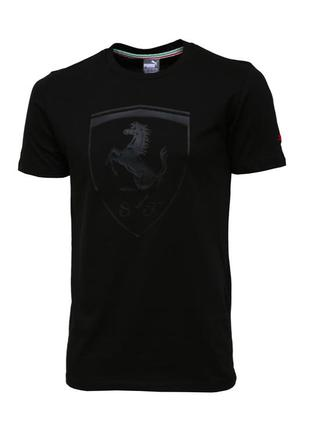 Мужская футболка puma пума ferrari феррари черная  с логотипом...