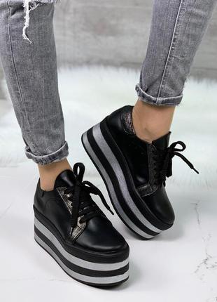 Чёрные кожаные кроссовки на высокой платформе,кожаные кеды на ...
