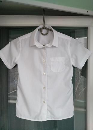 """Блузка-рубашка """"f&f"""" р.116-122 девочке 6-7 лет, белая школьная"""