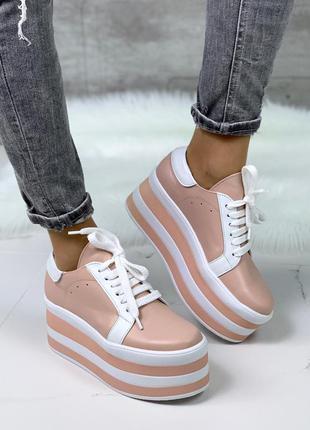 Пудровые кожаные кроссовки на высокой платформе,кожаные кеды н...
