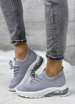 Серые текстильные кроссовки, спортивные текстильные кроссовки ...