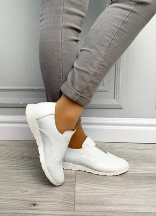 Новые белые женские кожаные туфли
