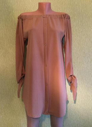 Платье на плечи с завязками на рукавах размер s/m