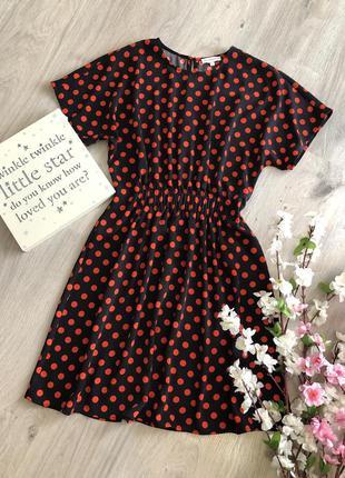 Красивое  платье в горошек, платье летучая мышь