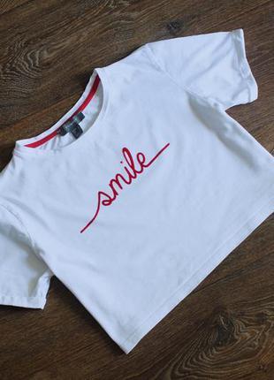 Укороченная футболка топ smile от primark