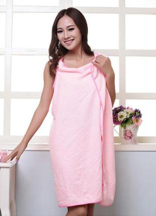 Халат - полотенце из микрофибры светло-розовый туника пляжная ...