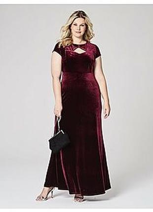 Длинное вечернее платье макси в пол бордовое вишневое велюрово...