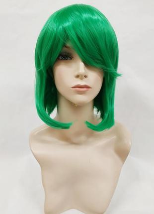 Парик зеленый каре 33см с косой челкой искусственный аниме кос...