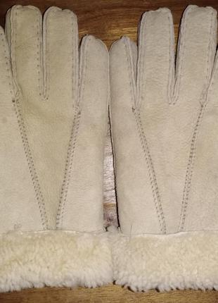 Перчатки, дубленая кожа с мехом