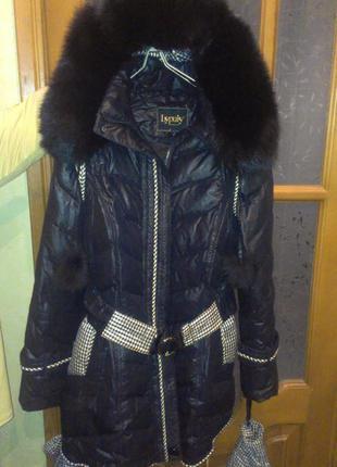 Фирменный пуховик пальто пух+перо мех-песец+варежки+ подарок