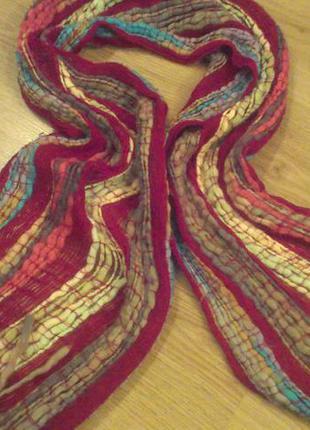 """Яркий вязаный шарф """"игривая полоска!"""""""