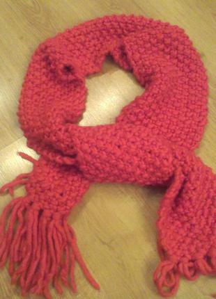 Теплый модный шарф крупной вязки