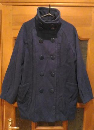 Теплое фирменное пальто синее