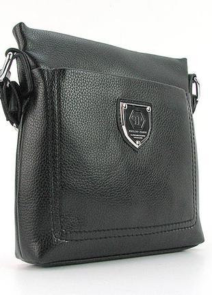 Мужская черная сумка через плечо небольшого размера