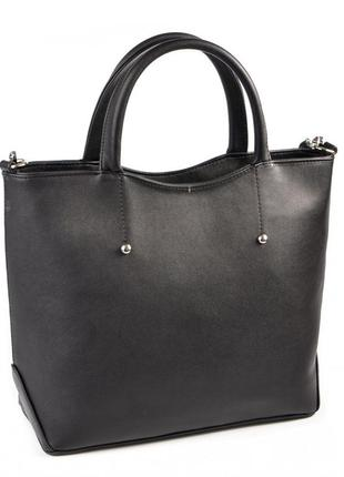 Черная деловая женская сумка через плечо фигурной формы