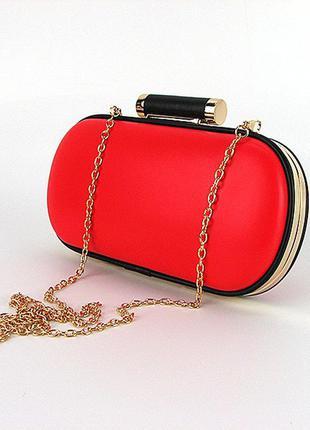 Красная маленькая овальная сумочка клатч-бокс через плечо