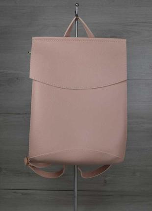 Молодежная сумка рюкзак трансформер через плечо пудровый город...