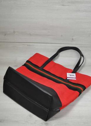 Большая женская сумка шоппер красная с черным на плечо