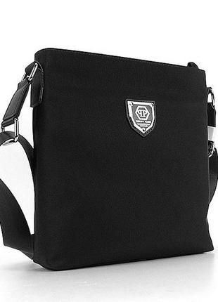 Мужская текстильная черная сумочка через плечо на молнии