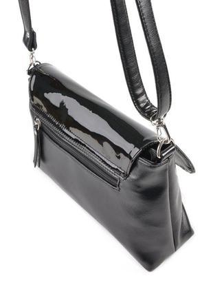 Черная лаковая женская большая сумка-клатч через плечо