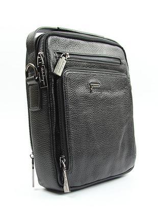 Кожаная черная маленькая вертикальная мужская сумка через плечо