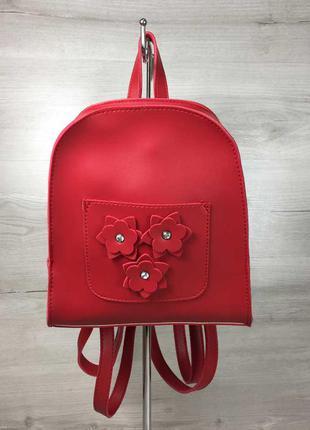 Красный маленький женский городской рюкзак с цветами