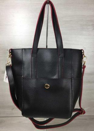 Черная оригинальная вертикальная сумка с ручками и ремешком че...