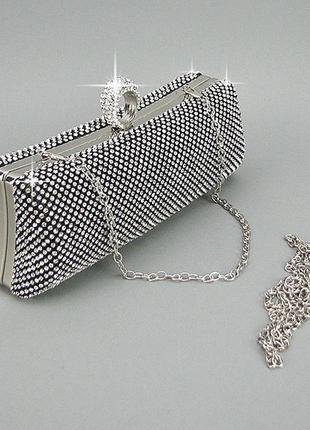 Маленькая вечерняя выпускная сумка-клатч из камней серебристая...