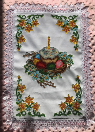 Пасхальний рушник вишитий чеським бісером (Великодня серветка)