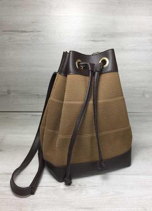 Коричневая женская сумка-рюкзак трансформер через плечо