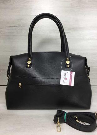 Черная женская сумка саквояж на плечо