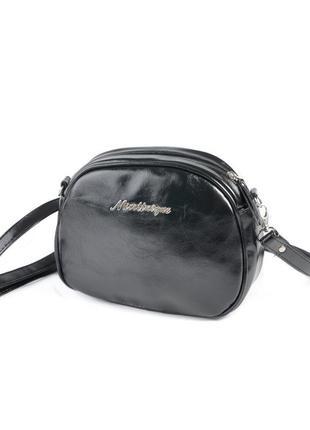 Черная овальная маленькая сумка кроссбоди через плечо