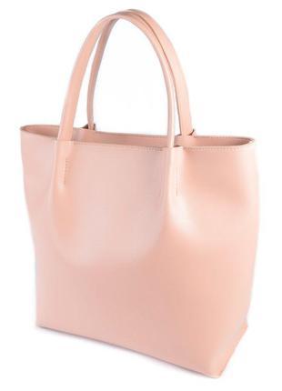 Большая розовая сумка шоппер на плечо