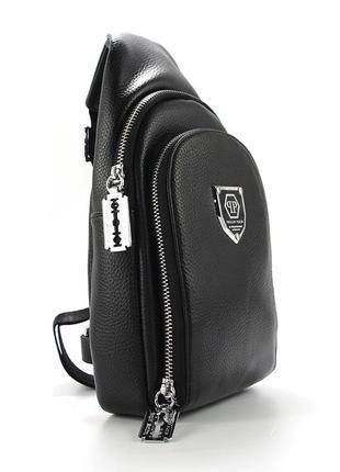 Рюкзак черный на одно плечо слинг банан