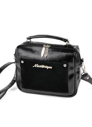 Черная маленькая прямоугольная сумка кроссбоди через плечо с з...