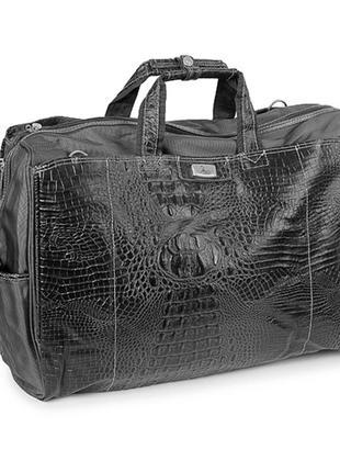Черная дорожная сумка саквояж под кожу крокодила
