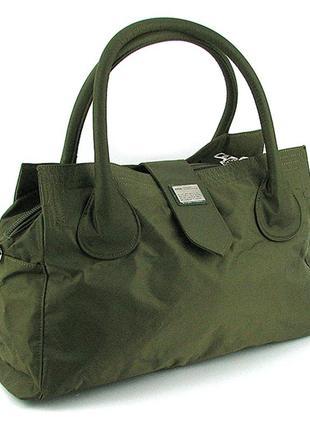 Зеленая дорожная спортивная сумка саквояж текстильная