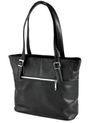 Черная женская сумка шоппер с длинными ручками на плечо