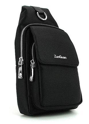 Рюкзак мужской текстильный черный на одно плечо слинг банан