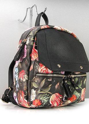 Женский городской рюкзак с цветами молодежный с принтом оригин...