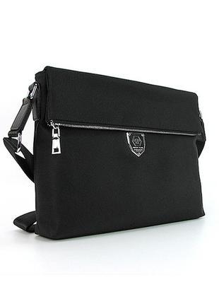 Черная мужская сумка через плечо текстильная папка для докумен...