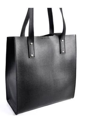 Черная деловая сумка шоппер квадратная оригинальная с ручками ...