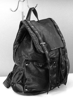 Черный женский рюкзак вместительный со стразами
