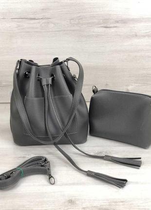 Серая женская сумка с клатчем с ручкой и ремнем через плечо