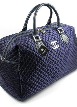 Синяя дорожная сумка женская большая стеганая саквояж на плечо