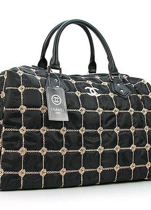 Черная дорожная сумка женская саквояж стеганая текстильная на ...