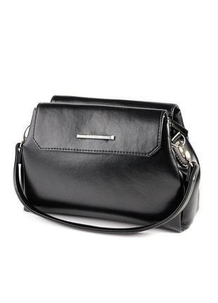 Черная маленькая сумка кроссбоди через плечо гладкая на три от...